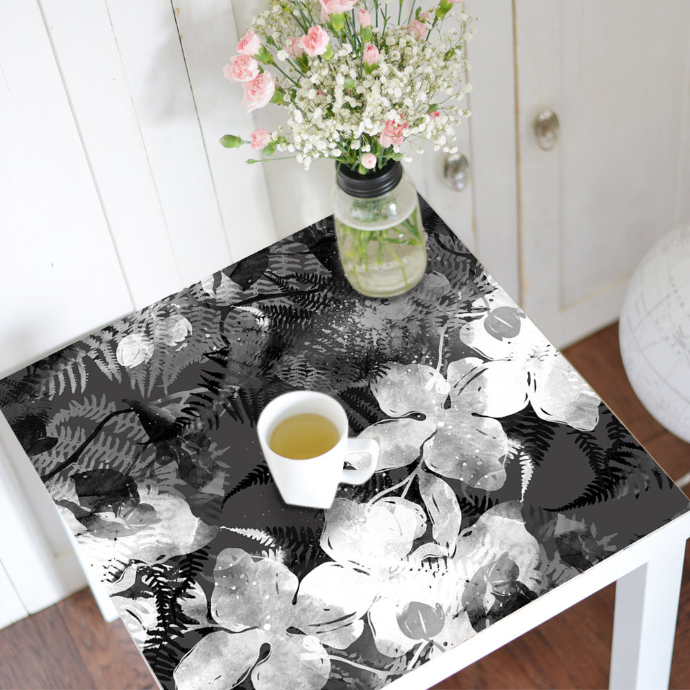 Table Stick Chinese Style Orchid Black White Ink Anti slip Cover Waterproof PVC Art Decal Wall Stick Home Furniture Decoration in Wall Stickers from Home Garden