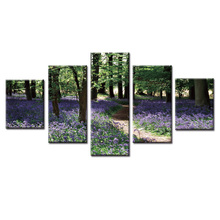 Framed 5 Panel Jungle landscape series painting Wall Art Oil Painting On Canvas Printed Pictures Decor living room