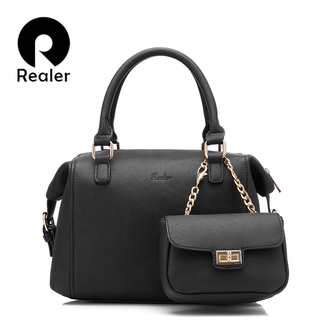 REALER brand handbag+small clutch purse, fashion design handbag top-handle bag female casual tote bags shoulder crossbody bag