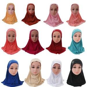 Image 1 - Kinder Kinder Mädchen Islamischen Muslimischen Schal Schule Strass Headwear Arabischen Turban Headwrap Underscarf Ramadan Nahen Osten