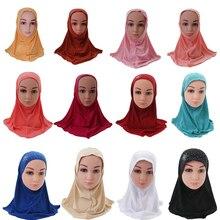Kinderen Kids Meisjes Islamitische Moslim Sjaal School Strass Hoofddeksels Arabische Tulband Headwrap Underscarf Ramadan Midden oosten