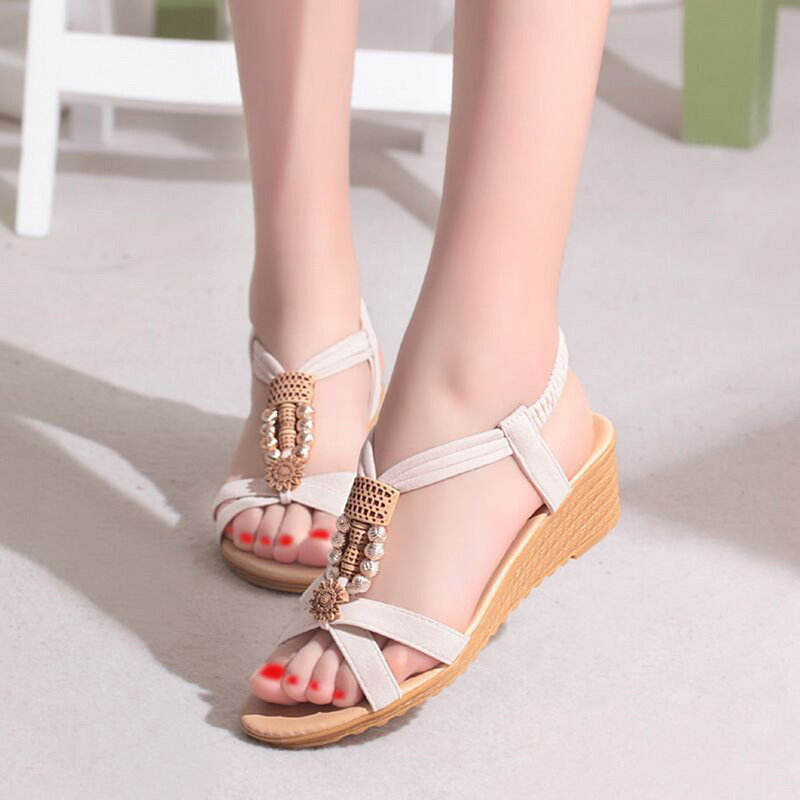 SHUJIN Women Sandals Beaded Beach-Shoes Open-Toe Elastic Female Bohemian Roman Casual