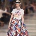 4 cores S-XL plus size 2017 a primavera eo verão carta moda férias estilo color block mulheres camiseta cortada topos (A9303)