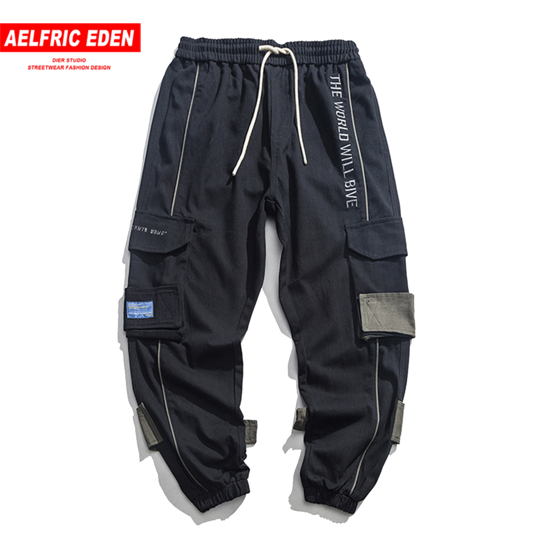 Aelfric Eden Spring Fashion Straight Trouser Multi-pocket Pants Men Color Contrast Casual Sweatpant Hip Hop Streetwear Joggers