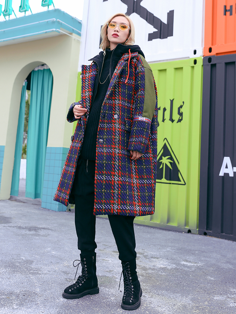 Couture D'hiver Vêtements Manteau Laine 2019 À De Femelle Nouveau Pour Capuchon 1 Plaid Superaen Femmes Mode Casual Sauvage 50ZRxw