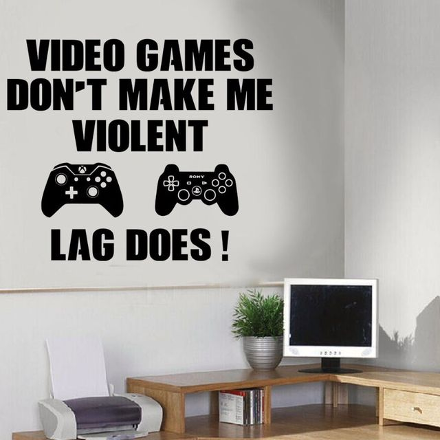 Gaming Wall Art Decal Boys Bedroom Video Game Wall Mural Removable Vinyl  Wallpaper Viedo Games Design