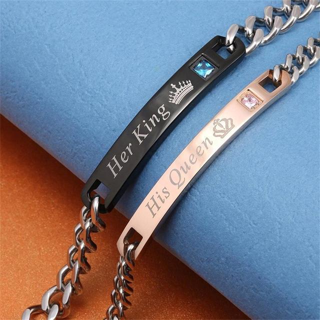 Aziz bekkaoui diy son roi sa reine couple bracelets en acier inoxydable crytal couronne charme bracelets pour femmes hommes drop shipping 5
