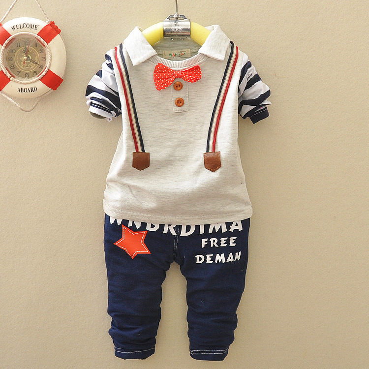 New Hot boys baby clothing 2 pieces long-sleeved T-shirt + trousers letter handsome fashion