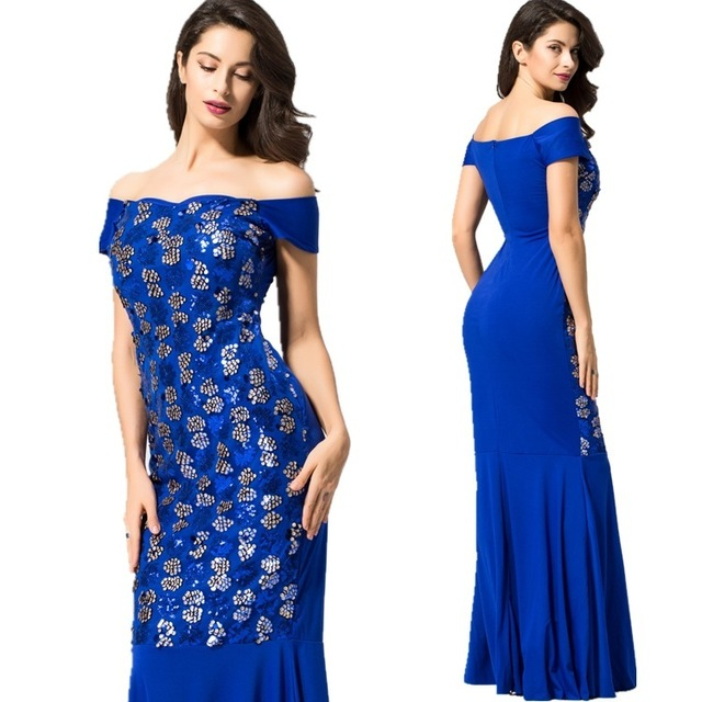 d45379834fb67 US $21.99 40% OFF|Sapphire Blue Evening Dresses Long Elegant Women Straight  Sequined Formal Gown Off the Shoulder robe de soiree Abendkleider 2018-in  ...