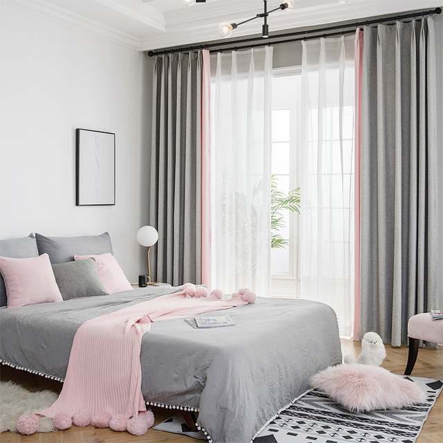 Simple Style Grey Pink Cloth Stitching Room Decor Curtains ...