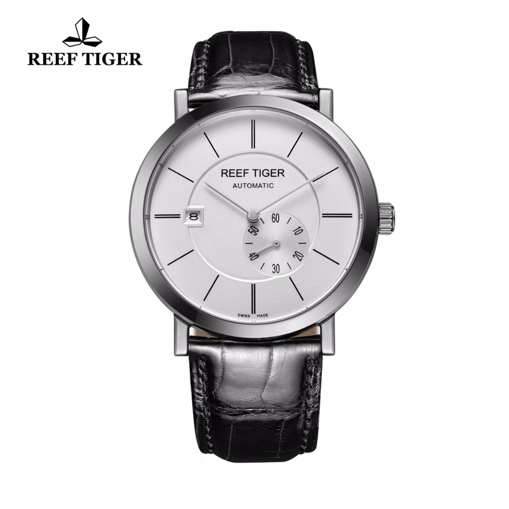 Reef Tiger/RT Business Automatic Watches for Men Waterproof Watch Ultra Thin Stainless Steel Watch with Date RGA161 yn e3 rt ttl radio trigger speedlite transmitter as st e3 rt for canon 600ex rt new arrival