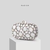 RADISH Natural Shell Women Luxury Crystal Evening Bags Bridal White Wedding Handbags Party Bag