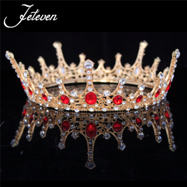 Baroque Luxury Green Red Crystal Tiaras Gold Full Round Prom Princess Crown  Wedding Pageant Queen Headdress Bridal Hair Jewelry 5e0d6cebbadd