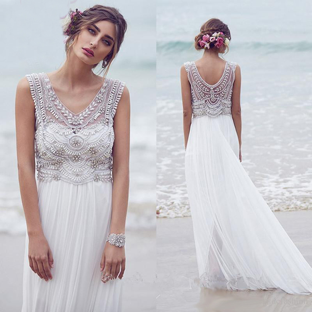 Us 123 37 27 Off Beach Wedding Dresses 2018 Boho V Neck Crystal Beads Bridal Gown Plus Size Trouwjurk Robe De Mariee In Wedding Dresses From