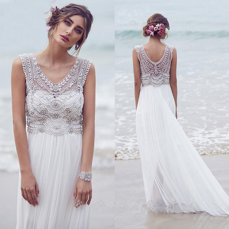 Beach Wedding Dresses 2019 Boho V Neck Crystal Beads Bridal Gown Plus Size Trouwjurk Robe De Mariee