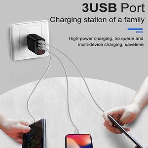 Image 5 - Baseus LED Digital 3 Ports USB Charger EU Plug Mobile Phone Fast Charging Wall Charger 3.4A Max for iPhone X 8 7 Samsung S9 S8