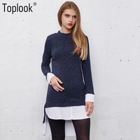 Toplook Knitted Women S Winter Sweaters 2017 New Blue Split Long Sleeve Pullovers Vintage Stitching Shirt