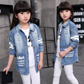 High Quality 2017 Spring Fall Girls Fashion Long Denim Jacket Children's Clothing Outerwear Female Kids Casual Ripped Coat G759