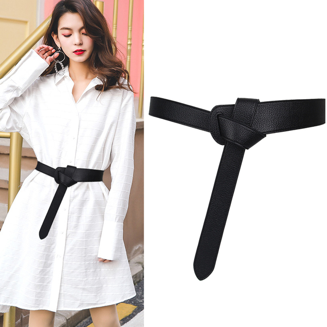 Black belt female knotted decoration skirt simple wild casual dress waistband long wide belts red PU