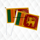 Sri Lanka Hand Held Stick Cloth Flags Safety Ball Top Hand National Flags 14*21CM 10pcs a lot