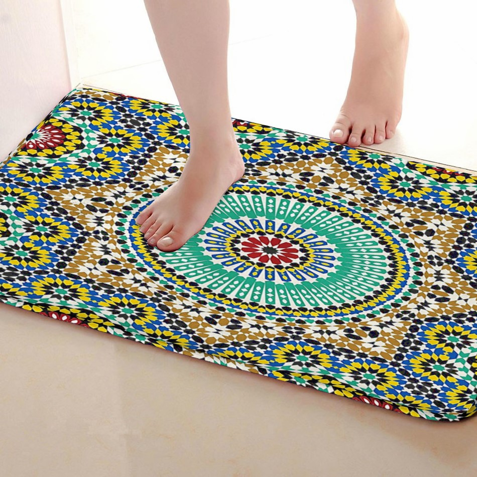 Round Style Bathroom Mat,Funny Anti skid Bath Mat,Shower Curtains Accessories,Matching Your Shower Curtain