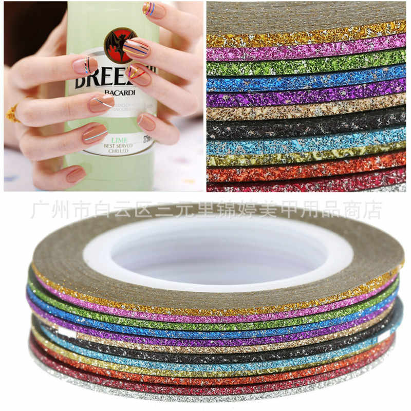 1 Pcs Verkopen 1mm 12 Kleur Glitter Nail Striping Line Tape Sticker Set Art Decoraties DIY Tips Voor Polish nail Gel