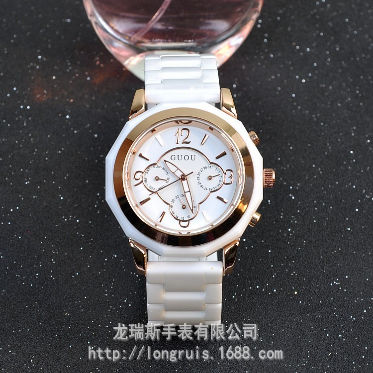 GUOU Brand Wristwatches Quartz-Watches Women's Watches White Ceramic Bracelet With Calendar Luxury Multifunction Factory Outlet guou wristwatches square quartz watches high grade women s watches genuine leather minimalist style factory outlet wristwatches