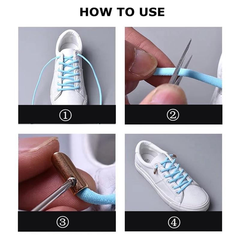1Pair Solid Color Semicircle Shoelaces Elastic Lace No Tie Shoe Laces Kids Adult Quick Lazy Sneakers Shoelace Shoe Laces Strings in Shoelaces from Shoes