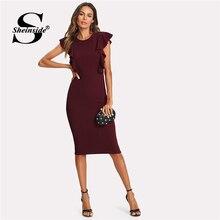 Sheinside Ruffle Trim Pencil Dress 2018 Summer Sleeveless Round Neck  Bodycon Dress Women Maroon Knee Length Elegant Dress 3a88e9d659bf