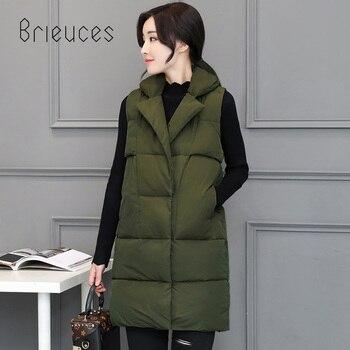 цена Brieuces 2020 Long Vest Winter Coat Women Sleeveless Jacket Slim Female Quilted Coat Femme Korean Waistcoat Colete Cotton Padded онлайн в 2017 году