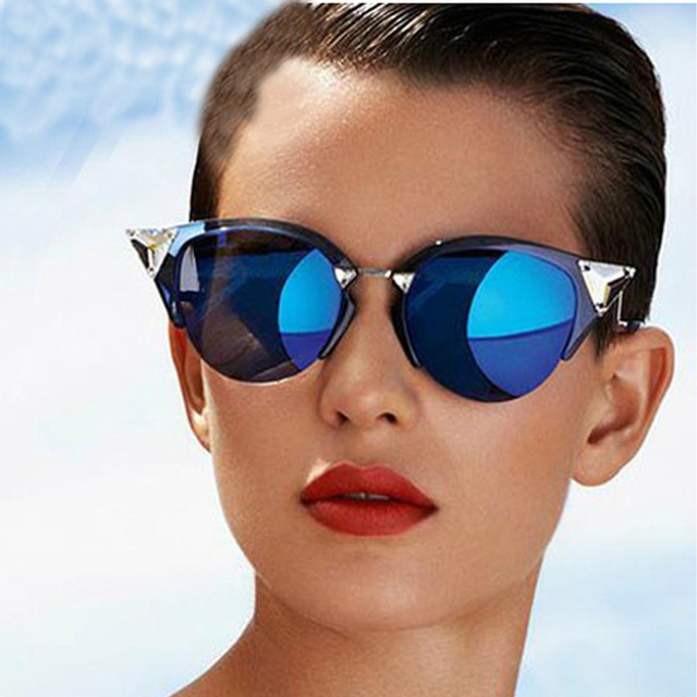 a5849ec549bc9 Maskros Vintage Cat Eye Mirror Sunglasses Women Red Blue Reflective Glasses  for Woman Shades