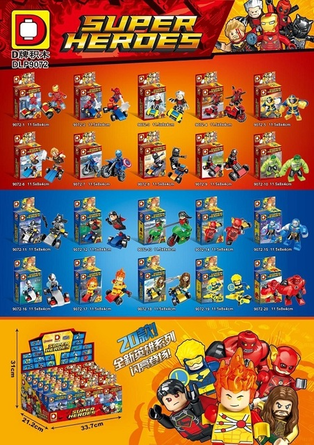 20pcs/lot DLP9072 Super Heroes Spiderman Captain America Iron Man Booster Gold With Cars Building Blocks Toys for children