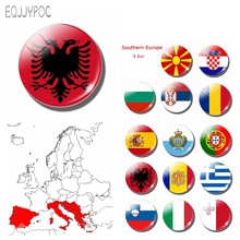 The Republic of Albania National Flag 30 MM Fridge Magnet Glass Cabochon Magnetic Refrigerator Stickers Note Holder Home Decor