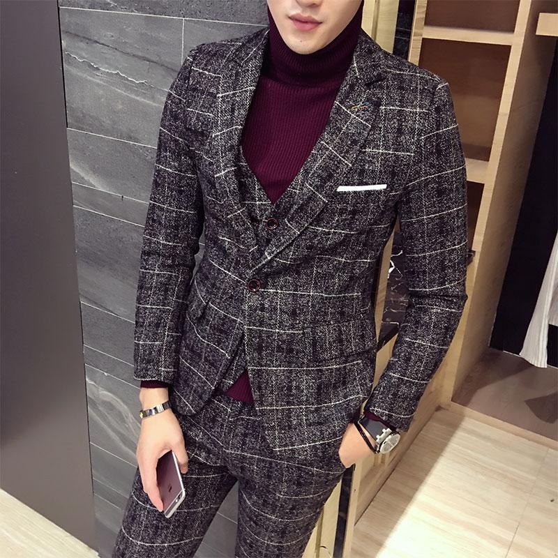 3 Piece Tweed Suit Men Plaid Blazer S 4XL 5XL Khaki Grey Blue Black Groom Wedding Dress Suits Costume Homme Ternos Slim