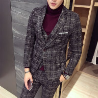 3 Piece Tweed Suit Men Plaid Blazer S 4XL 5XL Khaki Grey Blue Black Groom Wedding Dress Suits Costume Homme Ternos Slim