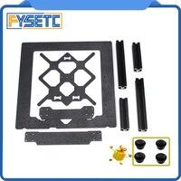 Clone Asli Prusa I3 MK3 3D Printer Parts Aluminium Paduan Bingkai Y Kereta Depan dengan Pelat Belakang + Aluminium Hitam profil Kit