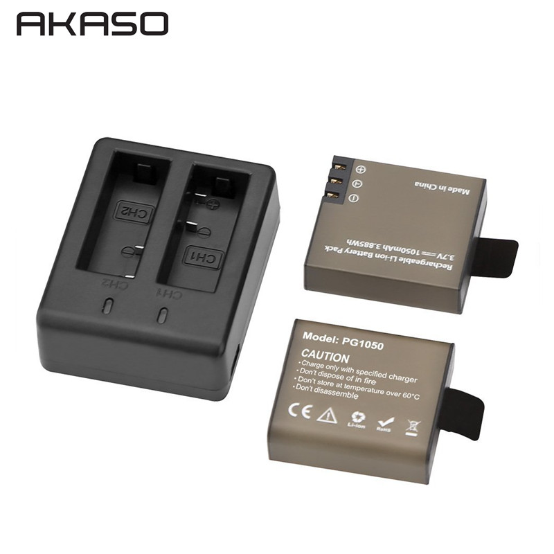 2Pcs 1050mAh USB Dual Charger battery For AKASO EK7000 EK5000 SJCAM sj4000 sj5000 sj6000 sj7000 SJ8000 eken H9 H9R Action Camea