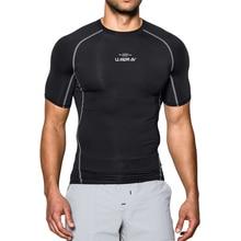 Black Quick Dry Running T-shirt Tight Sport T-shirt Solid Short Sleeve Gym Sport Top Tee Clothing Men's Sportswear цена