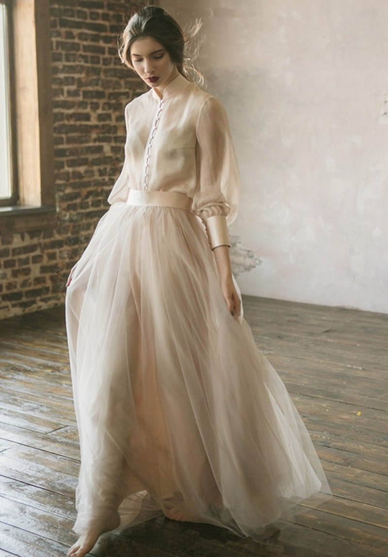Vestidos De Noiva Boho Wedding Dress Long Sleeves A Line  Champagne Tulle Princess Bride Dress Two Pieces Wedding Gown 2020
