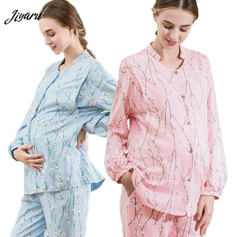 e8f83fdd629bd Hot Sale Maternity Pajamas Pregnant Pajama Set Winter Nursing Clothes  Maternity Long Sleeve Tops Pants Sleepwear Nightgown