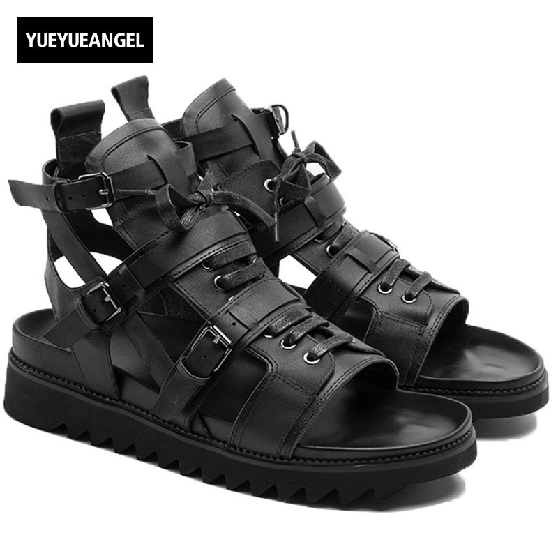 2018 Italian New Cow Real Leather High Top Men Beach Sandals Thick Platform Lace Up Buckle Strap Hollow Out Punk Gladiator Shoes sweet hollow out spaghetti strap cover up tank top for women