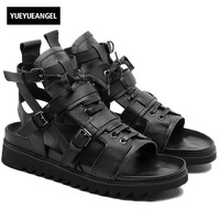 2018 Italian New Cow Real Leather High Top Men Beach Sandals Thick Platform Lace Up Buckle Strap Hollow Out Punk Gladiator Shoes