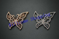 About 50mm Paved Zircon CZ Beads Copper Rose Gold Rhodium Color Butterfly Charm Links Connectors Fit
