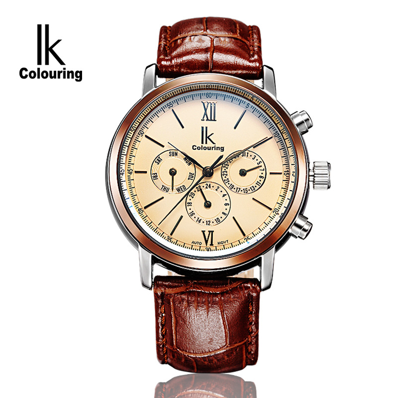 Luxury IK Coloring Orologio Uomo Men 's Sapphire Day/Week/Month Auto Mechanical Waterproof Wristwatch Oringal Box Free Ship ik colouring men s orologio uomo allochroic glass skeleton auto mechanical watch wristwatches gift box free ship
