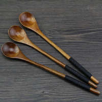 Kitchen bar Spoons Pure Hand-made Solid wood Round-top Milk Coffee Mixing Spoon 2 pcs FG