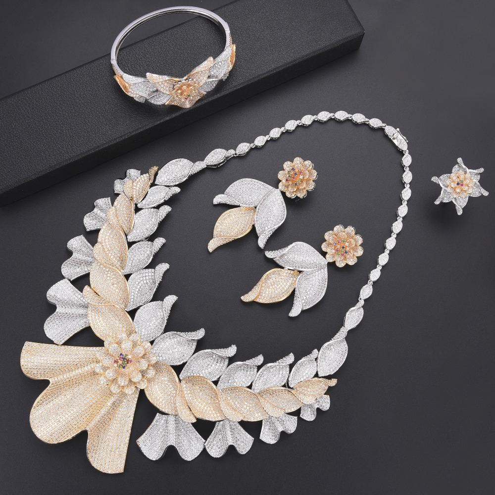 Trendy Blossom Leaf Nigeria Bridal Wedding Jewelry Sets CZ Indian African Wedding Necklace Earrings Bracelet Ring Jewelry Set Trendy Blossom Leaf Nigeria Bridal Wedding Jewelry Sets CZ Indian African Wedding Necklace Earrings Bracelet Ring Jewelry Set