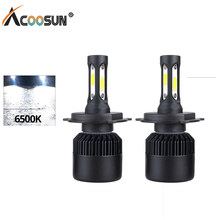 AcooSun LED H1 H4 H7 12V Car LED Headlight Lamp 72W 8000LM light 9005 9006 Fog Lamp 6500K Pure White H4 Hi-Lo Beam Car LED Light(China)
