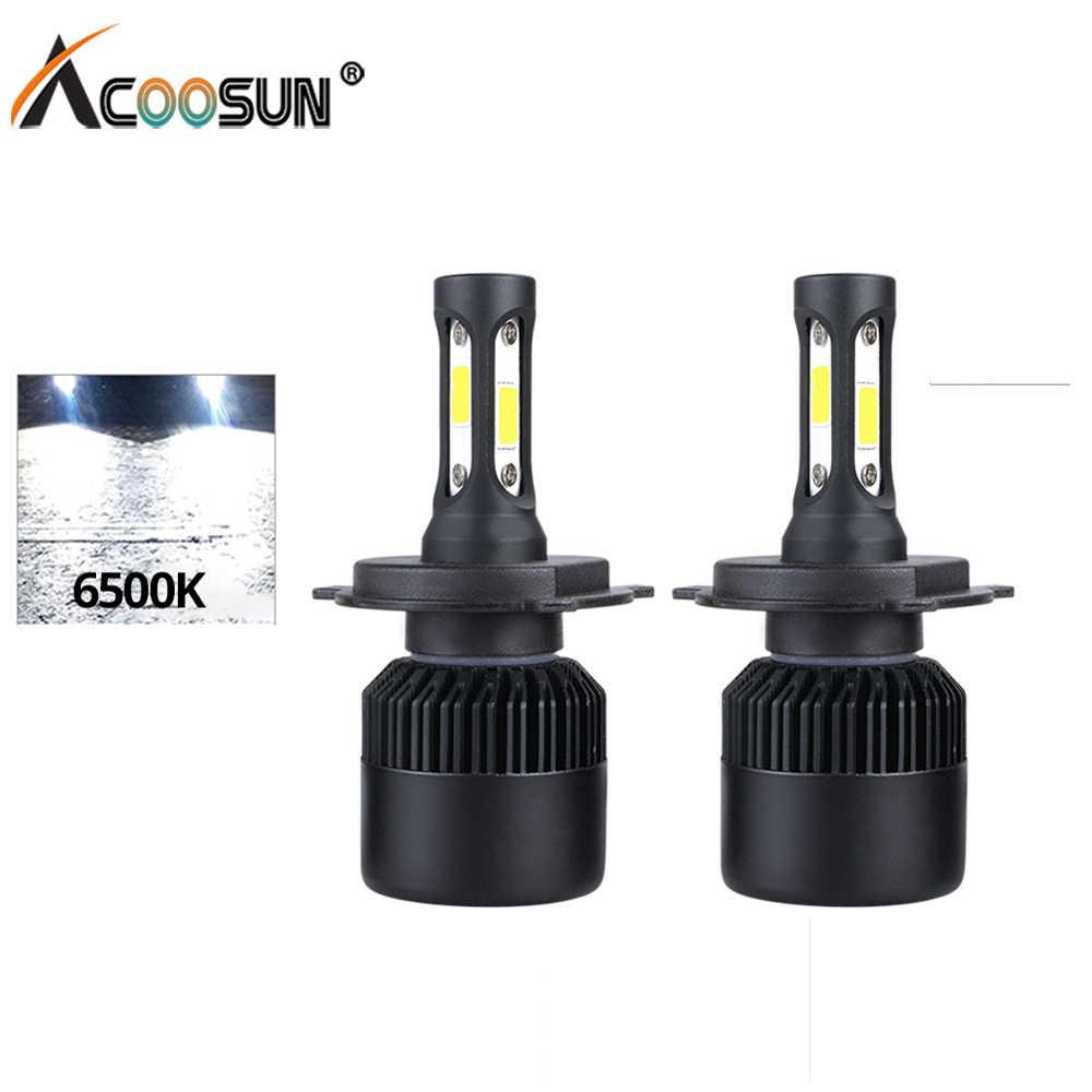 AcooSun LED H1 H4 H7 12V Car LED Headlight Lamp 72W 8000LM light 9005 9006 Fog Lamp 6500K Pure White H4 Hi-Lo Beam Car LED Light
