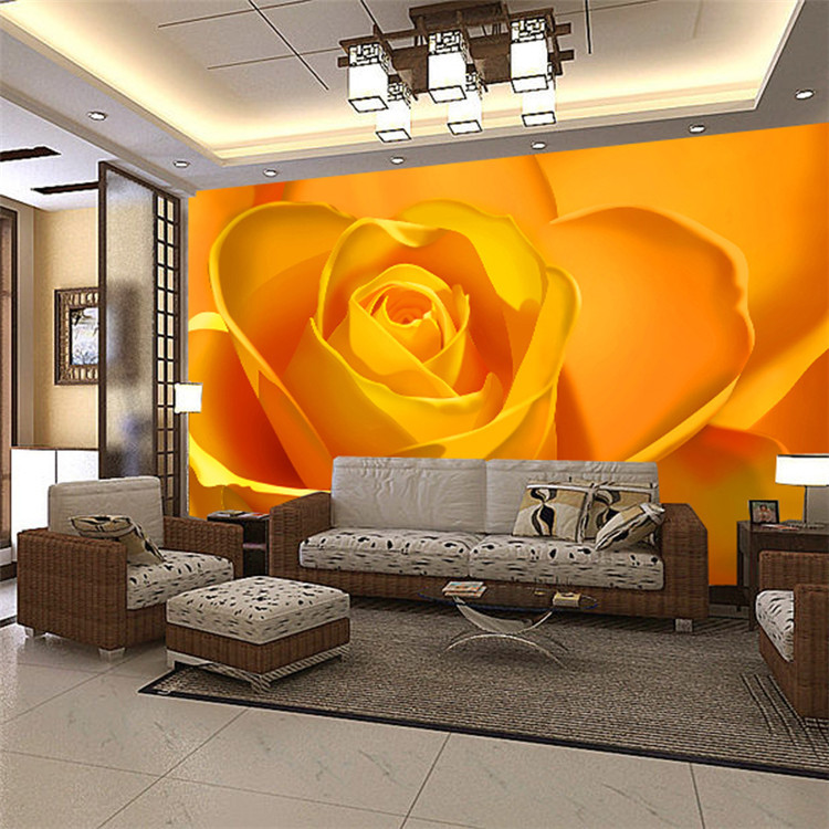 Brillante yellow roses photo wallpaper natural flowers for Hotel room wall decor