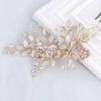 SLBRIDAL Handmade Golden Crystal Freshwater Pearls Flower Leaf Wedding Hair Clip Barrette Bridal Headpiece Hair Accessories
